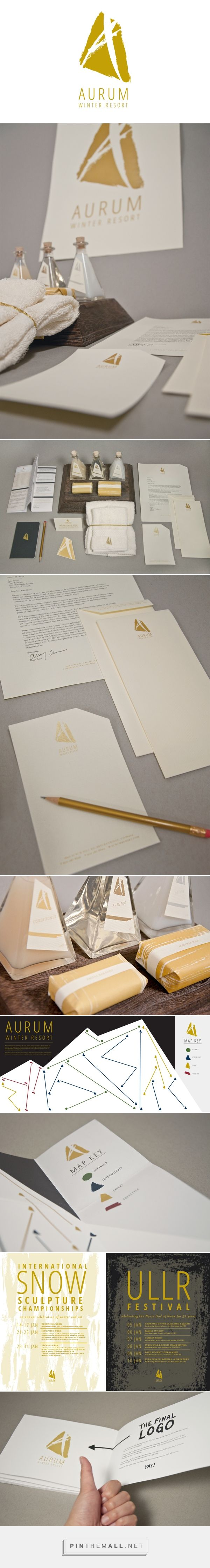 Aurum Winter Resort identity packaging branding on Behance by Amy Chen curated by Packaging Diva PD. Makes you want to visit Colorado in search of gold.