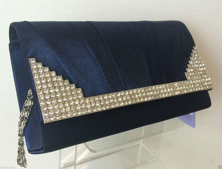 NAVY  BLUE SATIN & DIAMANTE MINI CLUTCH BAG