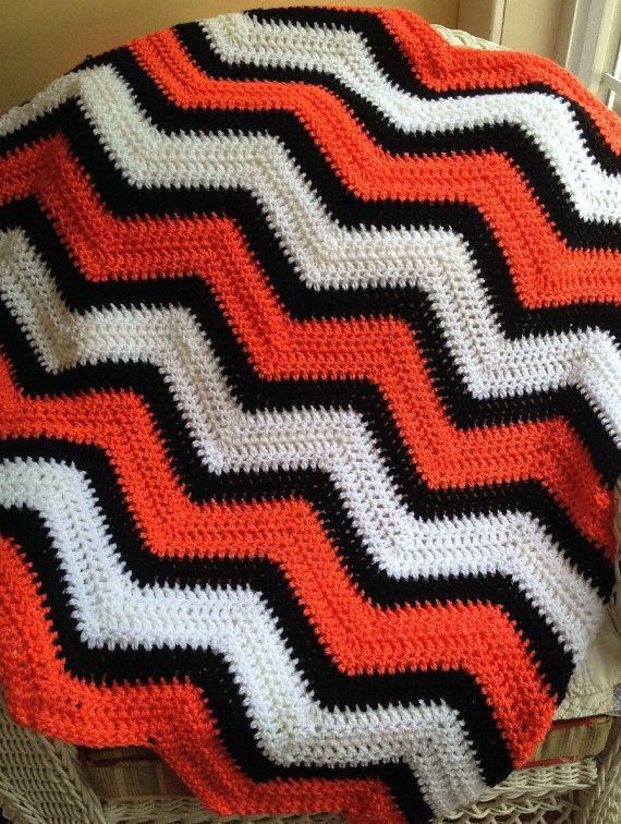 chevron zig zag baby blanket afghan wrap crochet knit wheelchair ripple stripes VANNA WHITE nemo orange black white yarn handmade in USA