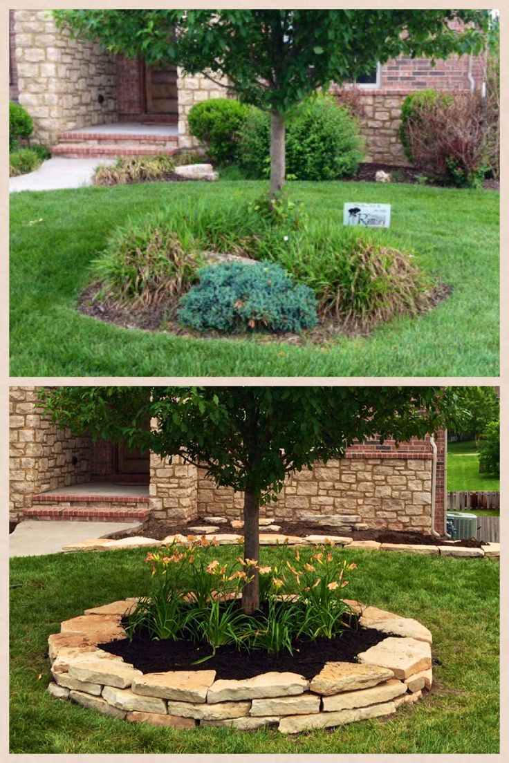 Before and After tree ring. Arkansas Sandstone was used for edging. Top soil was brought in for planting the day lilies. We finished the ring with black mulch.