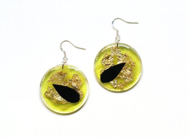 Yellow Dangle Earrings, Clear Acrylic Earrings, Black Tear Drop Earrings, Transparent Resin Earrings, Lazer Cut Jewelry, Bold Funky Earrings by petiteutile on Etsy