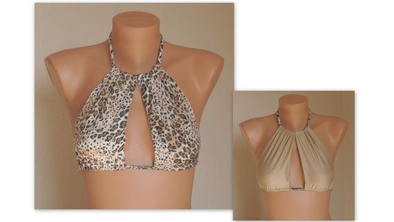 Reversible cheetah and beige cut out high neck halter bikini top-Bathing suit-Yoga top-Open neck top-Plus size-Bikini top-Halter bikini top
