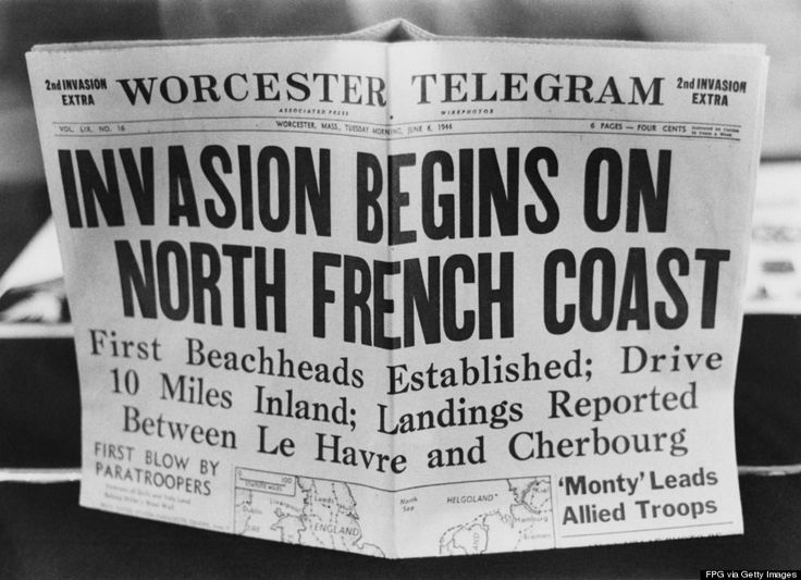 A '2nd Invasion Extra' edition of the Worcester Telegram newspaper, published in Worcester, Massachusetts, reporting the Allied invasion of Normandy on D-Day, June 6, 1944. (FPG/Hulton Archive/Getty Images)