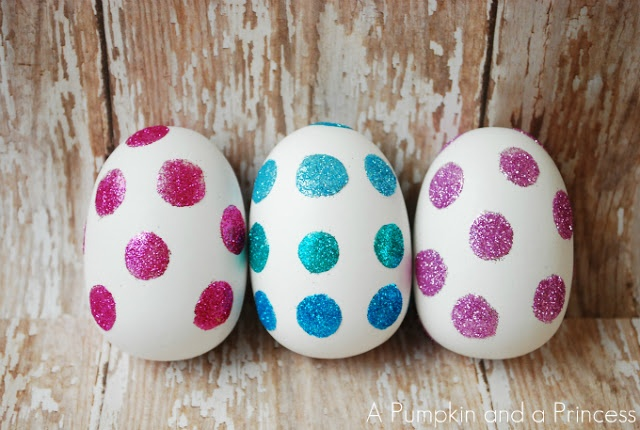 Polka dot glitter easter eggs tutorial