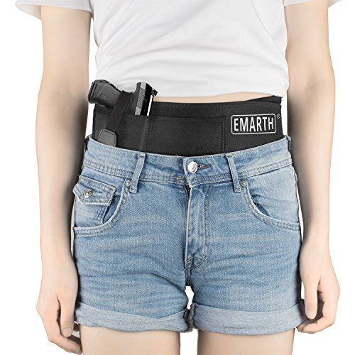"Emarth Belly Band Holster Concealed Carry Gun Holster with Magazine Pocket/Pouch Fits Pistols Revolvers for Women Men,Black  【One Size Fits All】Mercerized cotton material stretches to fit up to a 43"" belly. (Measure hips or belly not pant size).Can be worn inside the waistband, outside the waistband, cross body, appendix position, 5 O'clock position (behind hip), small of back, and even high up like a shoulder holster or concealed carry shirt.  【Concealed Carry Comfort】Soft and comfort..."