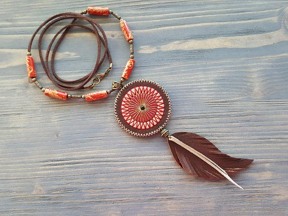 0a7a889afb0a9 Long bohemian leather necklace. Tribal necklace. Boho leather jewelry. Leather  feather necklace. Boho chic. Brown leather. Hippie necklace.