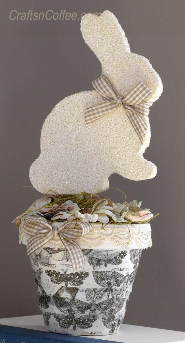 Think spring with a glittering bunny topiary TUTORIAL