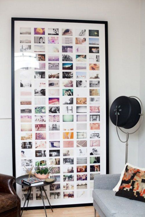 Not your boring old photos on a wall. I love the idea of one giant frame with a series. # interiors