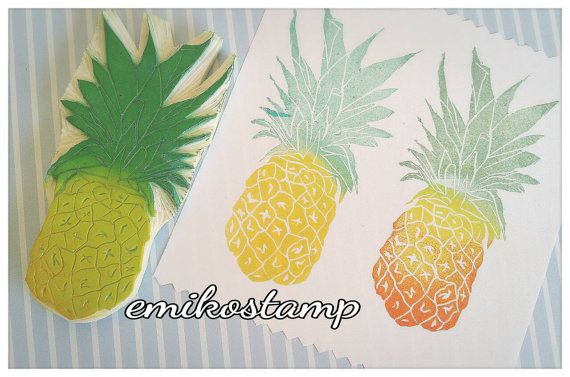 SALE Large Pineapple stamp hand carvedtropical