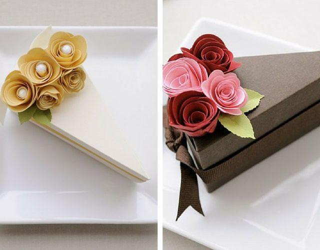 Caixa em forma de fatia de bolo