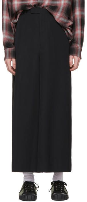 Lad Musician Black Cropped Wide-Leg Trousers