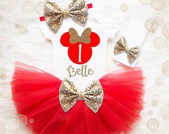 1 traje de cumpleaños del ratón | 1 º equipo cumpleañera | Traje rojo y de oro cumpleaños | 1 camiseta de cumpleaños de ratón | 1er cumpleaños camiseta chica