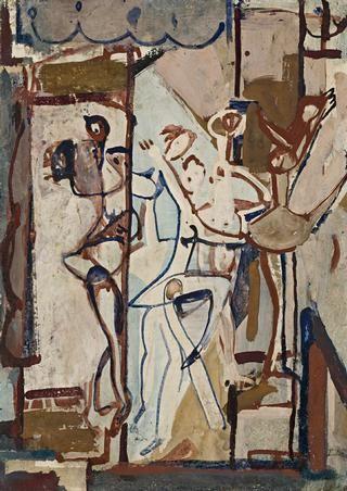 Circus, by Ian Fairweather, c1956. Gouache on cardboard,