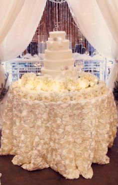 Rosette Tablecloth Rental | Rosette Tablecloth | Romantic Wedding | We – Simply Timeless Events and Decor