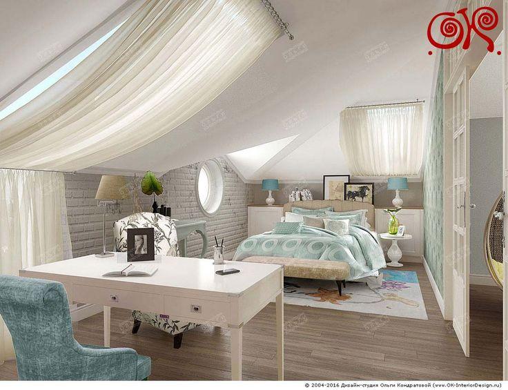 Дизайн светлой спальни в мансарде дома   Фото дизайнов интерьера 2017   Дизайн-студия Ольги Кондратовой