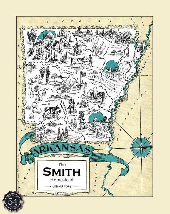 Custom Arkansas Map Vintage Map Of Arkansas by VintagePrint54