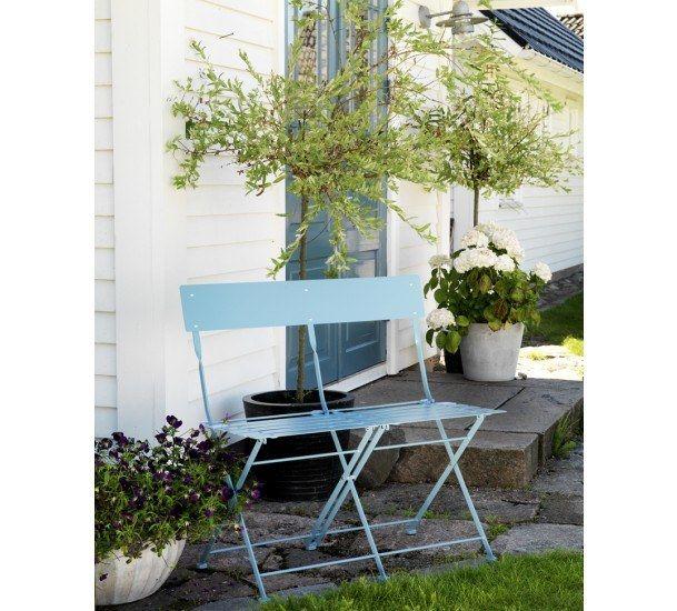 Arno Havebænk - blå - Malet stål