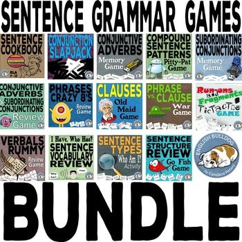 Sentence Grammar Games Bundle  Revised in July 2016!  Many editable files!  This is my first set of Sentence Grammar Games designed to teach conjunctions, phrases, clauses, sentence types, and sentence combining strategies... Buy this Sentence Grammar Games Bundle now for a savings of over 33%!