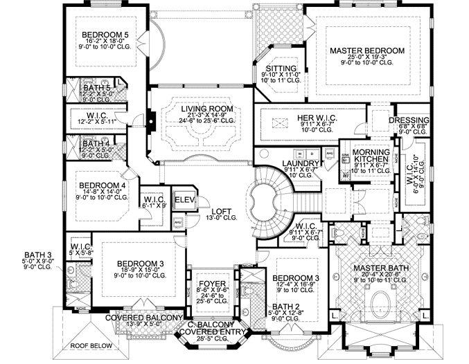 Mediterranean Style House Plan 7 Beds 8 5 Baths 7883 Sq Ft Plan 420 249 Mediterranean Style House Plans Luxury Floor Plans House Plans