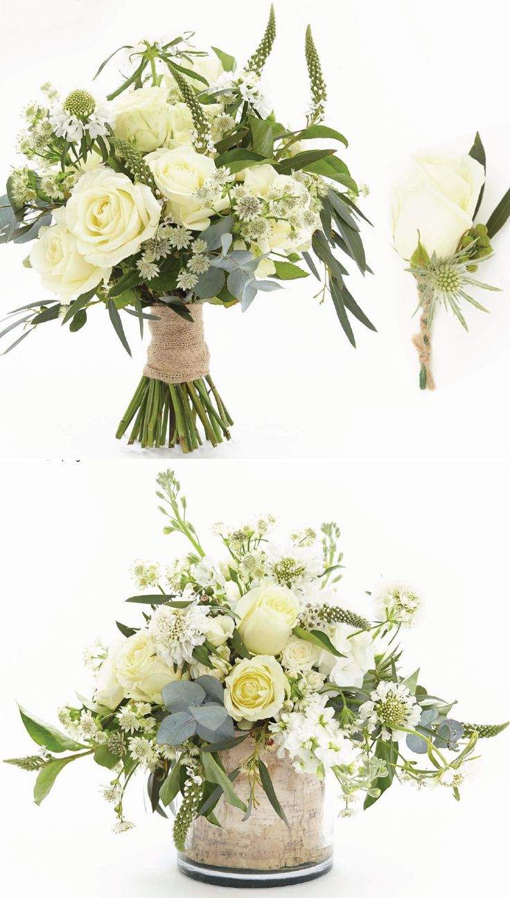 """White and ivory flowers are timeless and this classic choice of colour palette will complement any style of wedding. These unstructured arrangements are perfect for brides who want to create an informal, relaxed and rustic look for their big day.""
