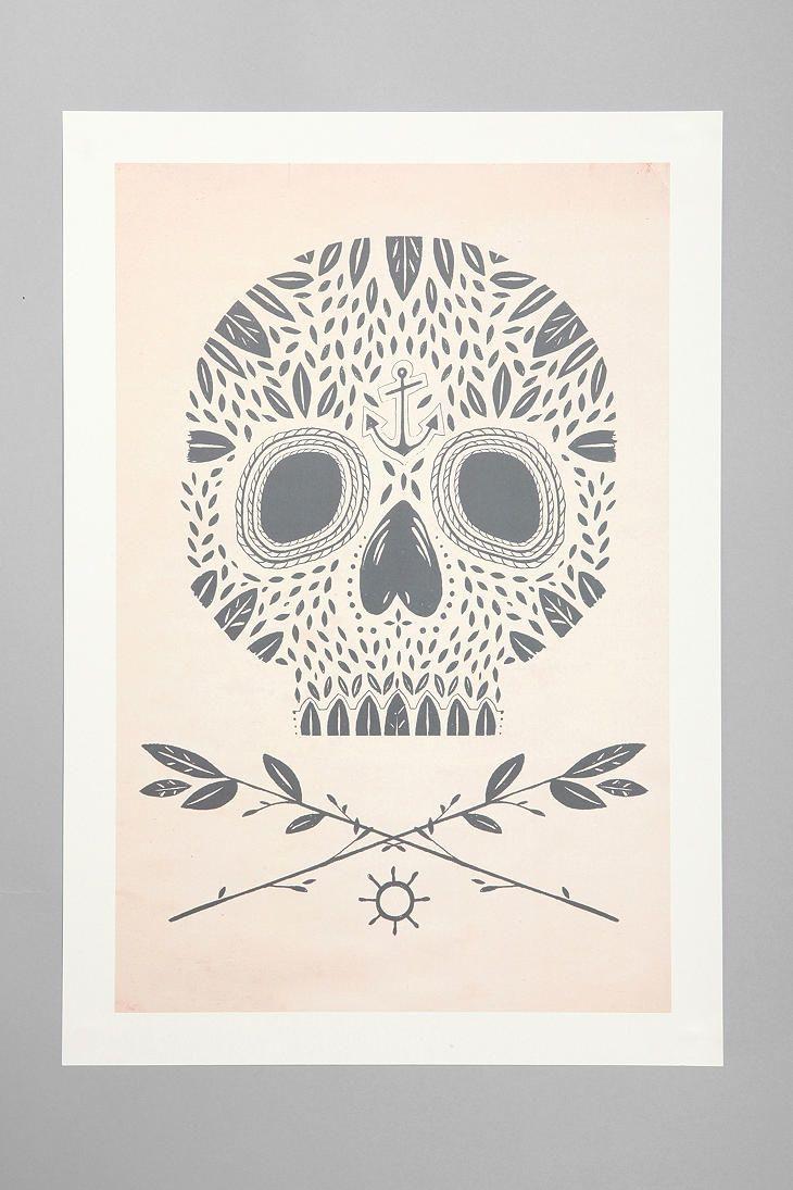Kelli Murray For Society6 Leaf Skull Art Print