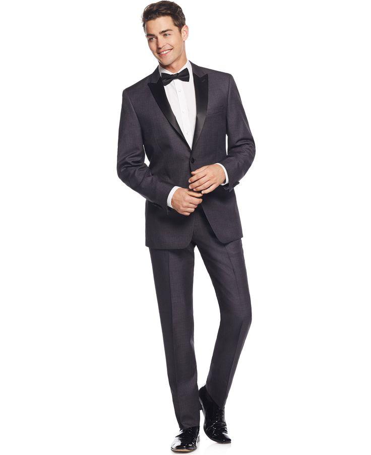 Calvin klein grey with black peak lapel slim fit tuxedo for Best slim fit tuxedo shirt