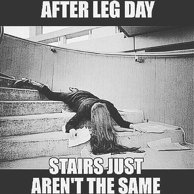 Walking down the stairs after a leg day is way too painful.