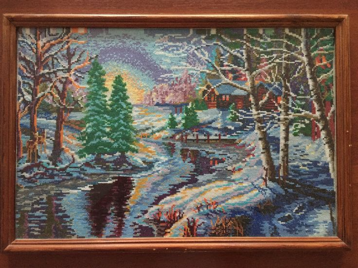 """Completed cross stitch, Home decoration, Framed cross stitch, Handmade embroidery - """"Winter forest"""". by NattikStudio on Etsy"""