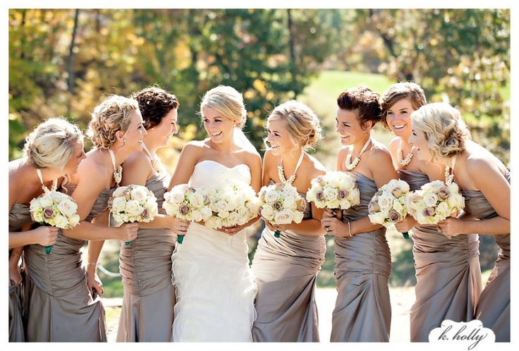 I like the gray bridesmaid dresses