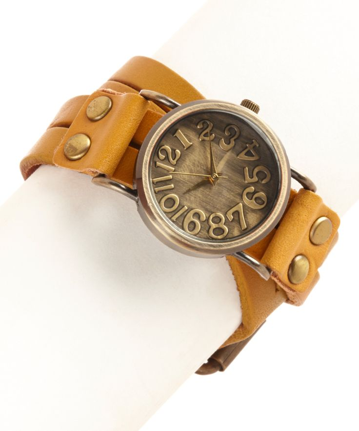 Three Bird Nest Camel Brown Wrapped in Time Leather-Strap Watch