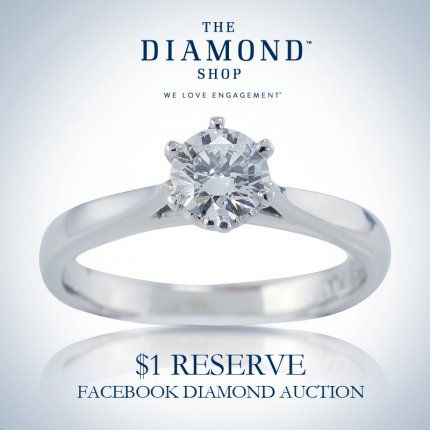 **$1 Reserve Auction** Round Brilliant Cut Diamond Engagement Ring In PlatinumYou can choose to hide your identity when you bid but you won't want to miss out on this opportunity to get this stunning ring at the price of your choice.  It has a replacement valuation of $7,500!Th
