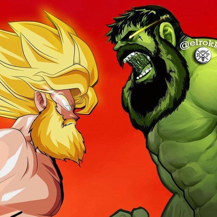 Dope bearded Goku vs Bearded Hulk by the amazing @elrokk86!! #Goku #Hulk #Marvel #MarvelComics #Anime #DragonBallZ #Comics