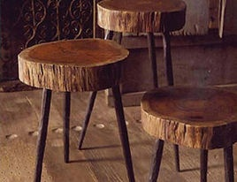 """Made from acacia wood atop three sturdy, hand-forged recycled iron legs, these quirky pieces make rustic stools or side tables. Some radial cracking is to be expected. Some assembly required. Sizes are approximate. Dimensions Small: 11""""Dia x 14""""H Medium: 11""""Dia x 18-1/2""""H Large: 11""""Dia x 22""""H Available in three sizes Handmade Uses recycled materials       less    Product Specifications:Sold By:Forma Living  