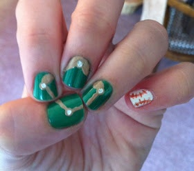 Baseball Nails : how cute. OMGosh that's so cool!