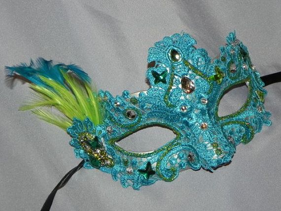 Masque de dentelle vert Sarcelle et de la par TheCraftyChemist07