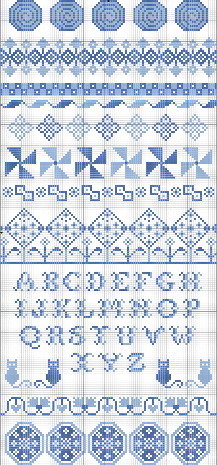 Homage to Jane Kendon - Band Sampler in DMC 798 and 809, designed by Remy Lawler, blogger for Embroiderbee's Primary Hive.