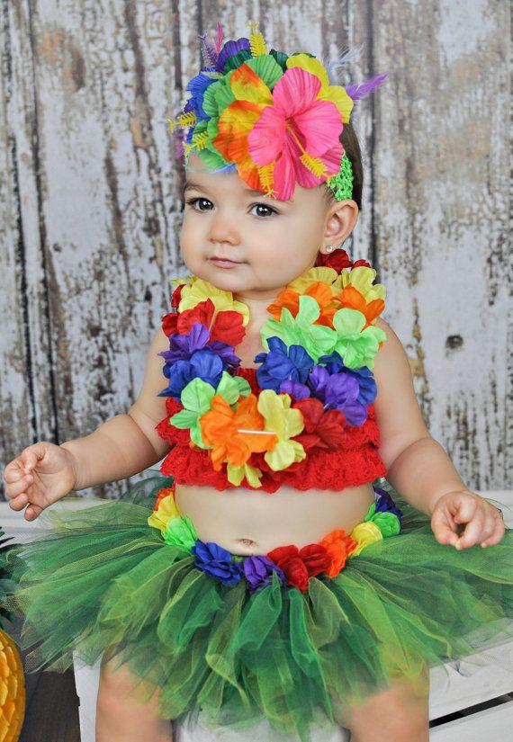 Hawaiian TUTU SET luau party photo prop baby by BowPeepsAndMore, $55.00
