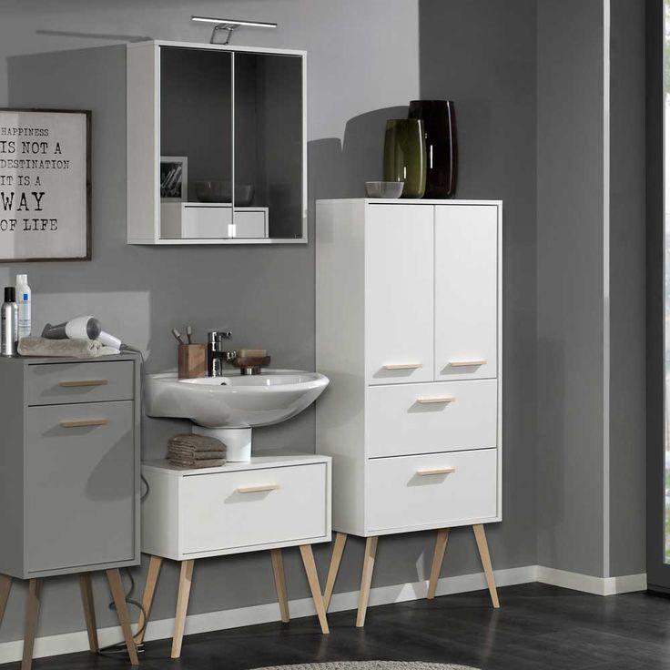 Badezimmermöbel Set Im Retro Look Weiß Buche (3 Teilig) Jetzt Bestellen  Unter: