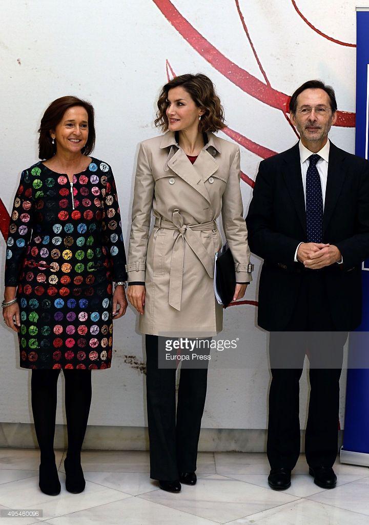 Queen Letizia of Spain (C) and Ana Santos attend 'Cooperacion Espanola 2030. Espana y la nueva agenda de desarrollo sostenible' seminar on November 3, 2015 in Madrid, Spain.