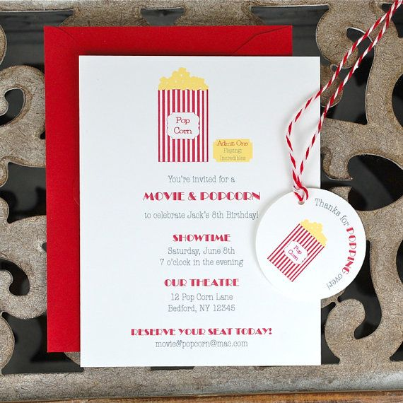 Movie Party Invitations . Popcorn Party by SweetBellaStationery