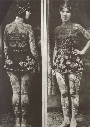 """Lady Viola (originally born as Ethel Martin) Covington, Kentucky, 1898; tattooed by Frank Graf (Coney Island) in the 1920s she became an attraction tattoo, billed as """"the most beautiful tattooed woman in the world""""; It was not just a tattooed lady circus, but also a tattoo artist in 1970, at the age of 73 years, was known as the tattoo artist perform oldest in the world."""
