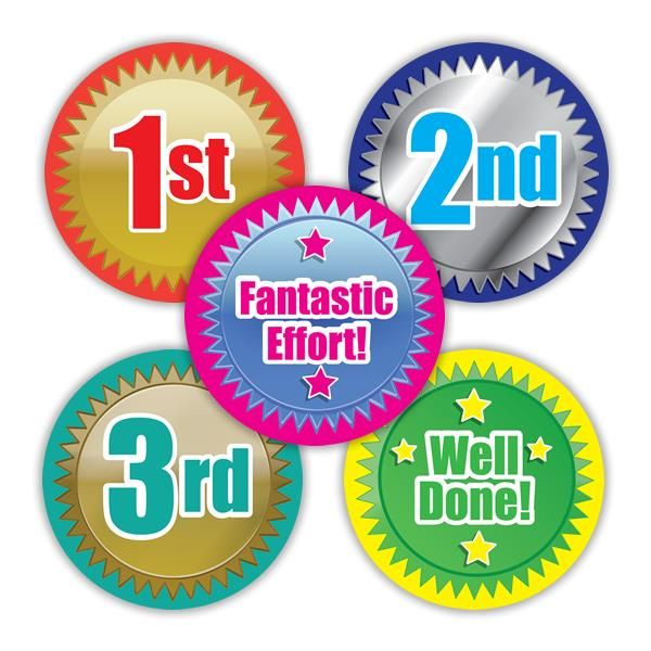 Finish Line Variety Stickers. 125 per pack (28mm)