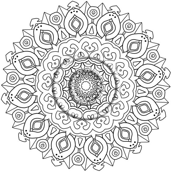 Digital Download Coloring Page Hand Drawn Zentangle By Katahr 220 Rhpinterest: Easy Zen Coloring Pages At Baymontmadison.com