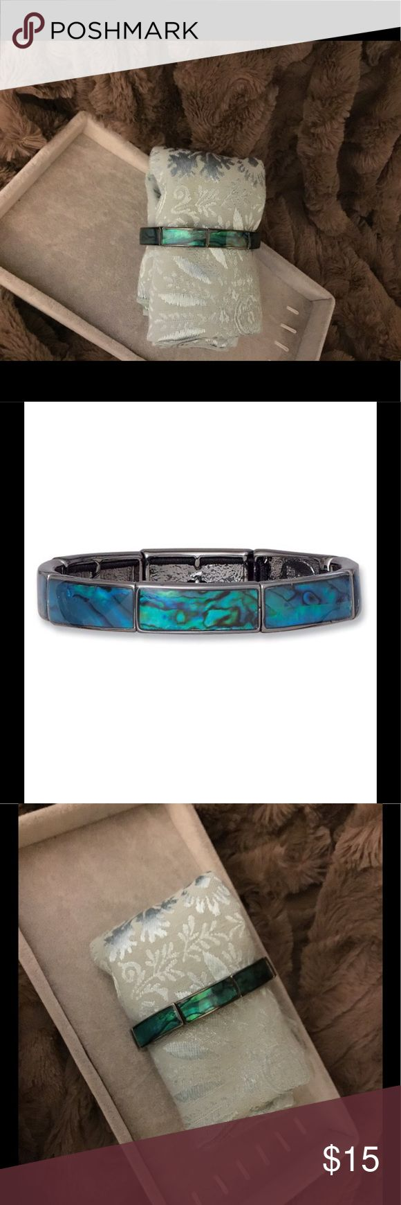 New Lia Sophia Abalone Stretch Bracelet Black Hematite Stretch Bracelet with Beautiful Abalone Inlay Lia Sophia Jewelry Bracelets