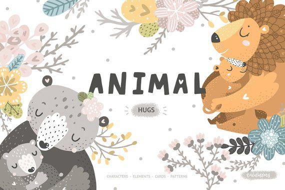 Cute Animal Clipart Digital Paper Pack Koala Clipart Mother Etsy Cute Animal Clipart Animal Hugs Animal Clipart