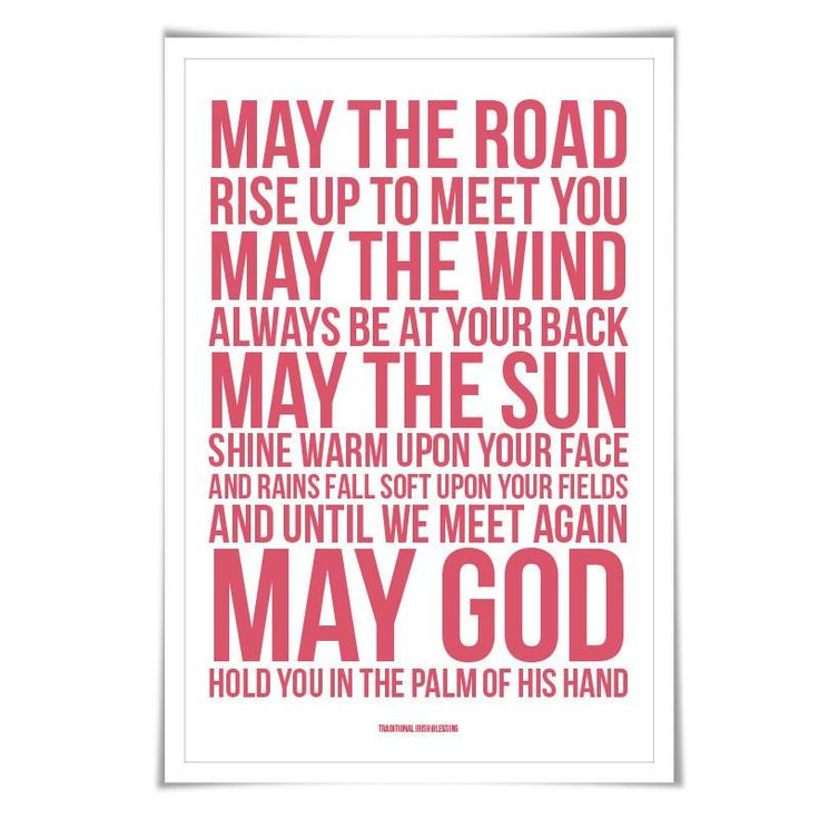May The Road Rise Up To Meet You Irish Blessing Art Print. 60 Colours/4 Sizes. Irish Art Gaelic Blessing