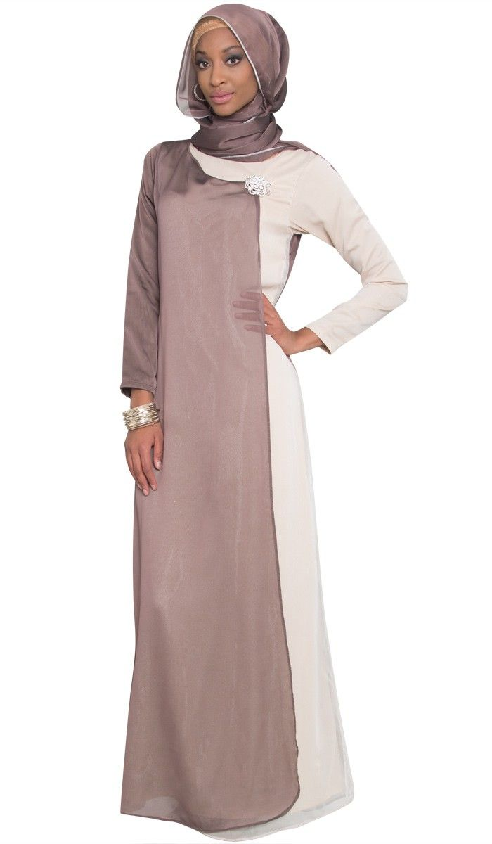 Eman Brown Colorblock Abaya Dress | Islamic abayas and maxi dresses | Artizara.com