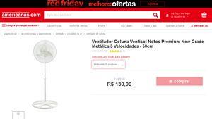 [Americanas.com] Ventilador Coluna Ventisol Notos Premium New Grade Metálica 3 Velocidades - 50cm - de R$ 145,33 por R$ 123,19 (15% de…