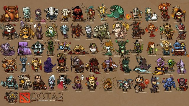 63 of DotA 2's 102 heroes, transformed into the angriest and cutest possible creatures by digital ar