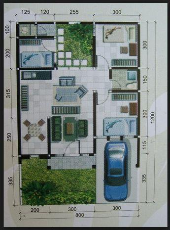 denah rumah minimalis 1 lantai ukuran 8x12 | guest house